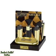 Clipper Metal Lighter - Display/12 - Black and Gold