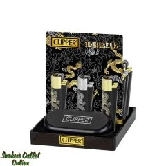 Clipper Full Metal Lighter Black with Silver/Gold Dragons - Display/12