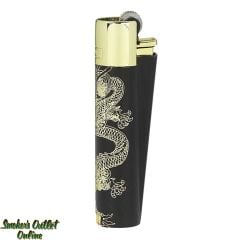 Clipper Full Metal Lighter - Black with Gold Dragons - Single