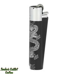 Clipper Full Metal Lighter - Black with Silver Dragons - Single